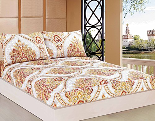 Tache 3 Piece Sunshine Festival White Gold Fancy Patterned Fitted Sheet Set, Queen