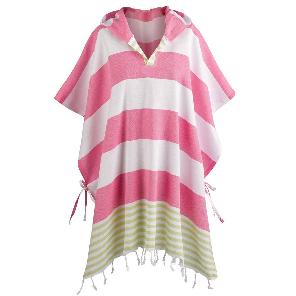 CATALOG CLASSICS Women's Turkish Towel Ponchos - Hooded Beach Cover-up - Cherry