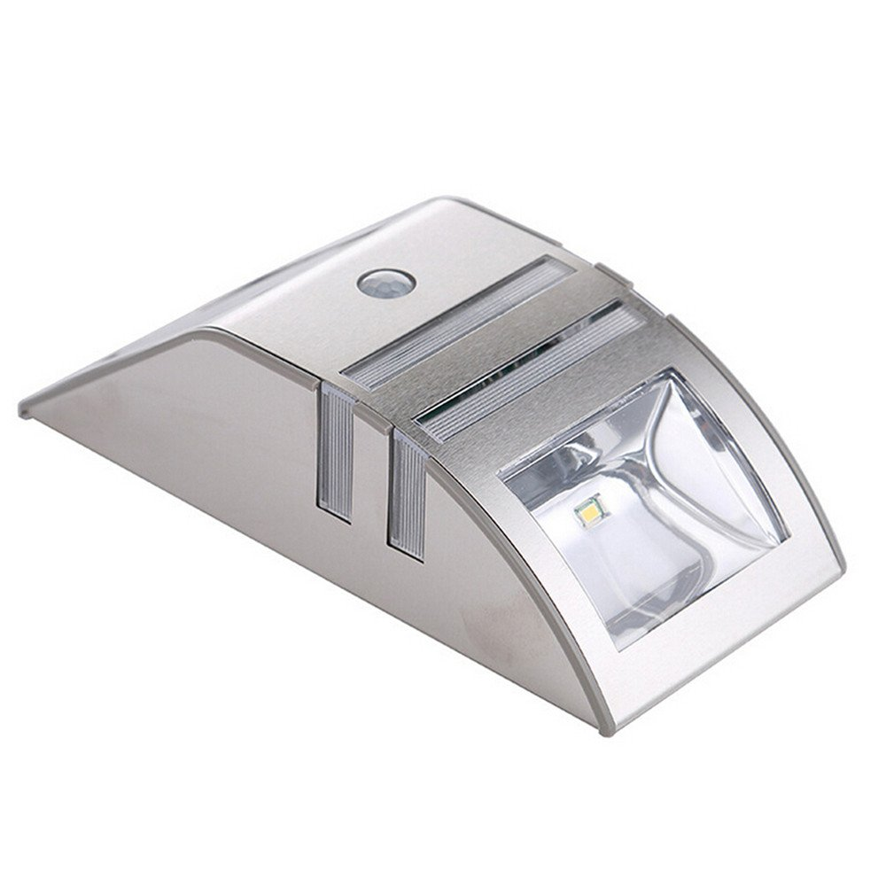 Solar Powered LED Lighting PIR Motion Sensor Stainless Steel Outdoor Path Wall Path Light Garden Security Lamp for Staircase Step Yard 1pcs Safety (Size : Warm White)