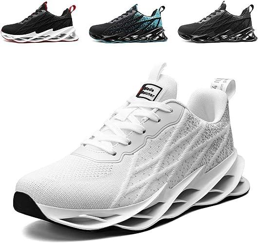 Air Shock pour homme absorbant Baskets Décontractées Course Garçons Blanc Baskets Jogging Gym