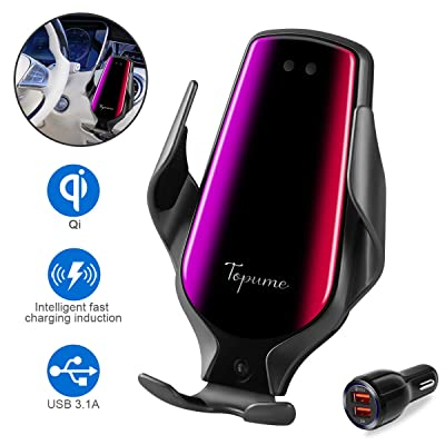 Smart Sensor Wireless Car Charger Mount, Automatic Clamping QC/QI 10W Fast Charging Car Charger Holder Compatible with iPhone 11/Xs/Xs Max/XR/X /8,Samsung Galaxy Note 9/ S9/ S9+/ S8 etc(Black): Electronics