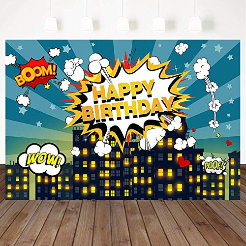 Mehofoto Superhero Backdrop Birthday Party Background Super City Background 7X5ft Vinyl Birthday Party for Boys Backdrops Photo Booth Banner Decoration Studio Background Props