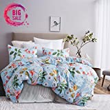 Leadtimes Queen Flower Duvet Cover Set, Girls Floral Leaf Sky Blue Bedding Set with Soft Lightweight Microfiber 1 duvet cover and 2 Pillowcases New Edition (Queen, Blue Floral)