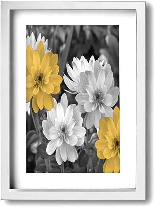 Amazon Com Ale Art Modern Frame Bathroom Wall Art Yellow Gray Flowers Vintage Pictures Bath Wall Art Ready To Hang For Wall Decor Posters Prints