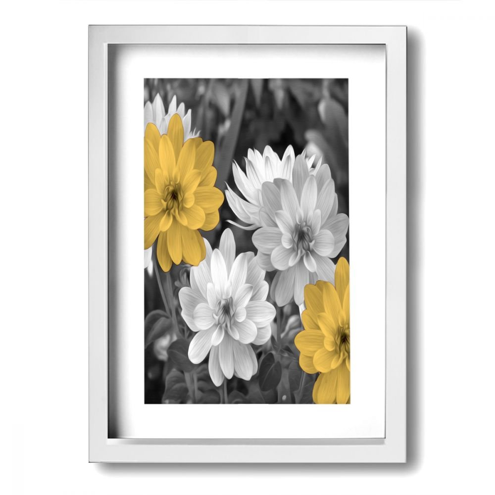 Ale art modern frame bathroom wall art yellow gray flowers vintage pictures bath wall art ready to hang for wall decor