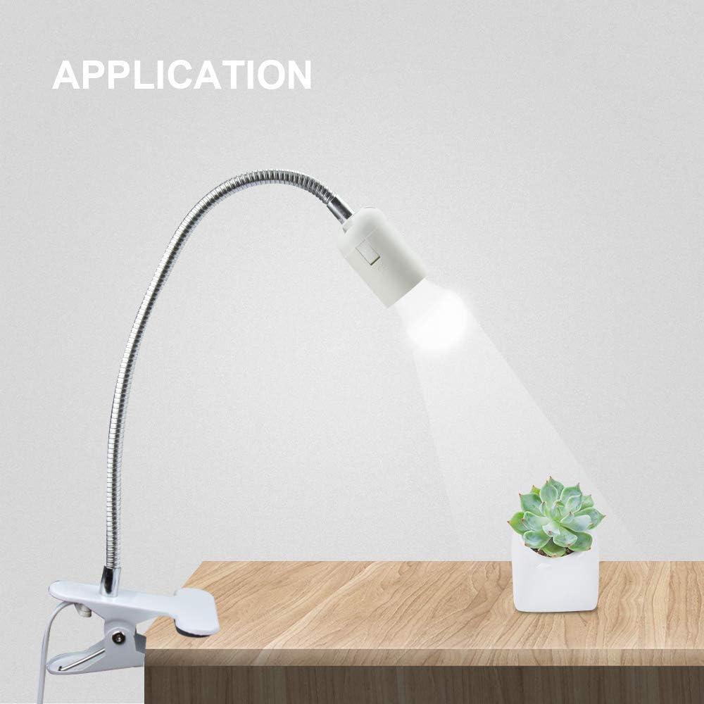 culot /à vis pour lit avec prise EU bureau Bonlux Douille de lampe E27 /à LED 0,5 m Col de cygne avec c/âble de 1 m et support E27 /à clip lecture nocturne