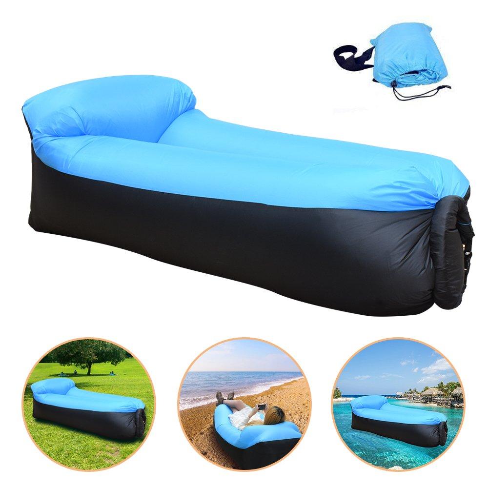 IREGRO wasserdichtes aufblasbares Sofa mit integriertem Kissen, tragbarer aufblasbarer Sitzsack, Aufblasbare Couch, aufblasbares Outdoor-Sofa für Camping, Park, Strand, Hinterhof Hinterhof (blauschwarz)