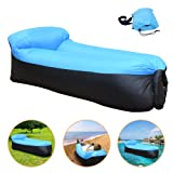 iRegro Portable Inflatable Sofa with Integrated Pillow, Waterproof Air Sofa Inflatable Lounger, Air Lounger Inflatable Couch, Air Bed Beach Lounger with Storage Bag for Travelling, Pool, Beach Party and Camping Equipment (BlueBlack)