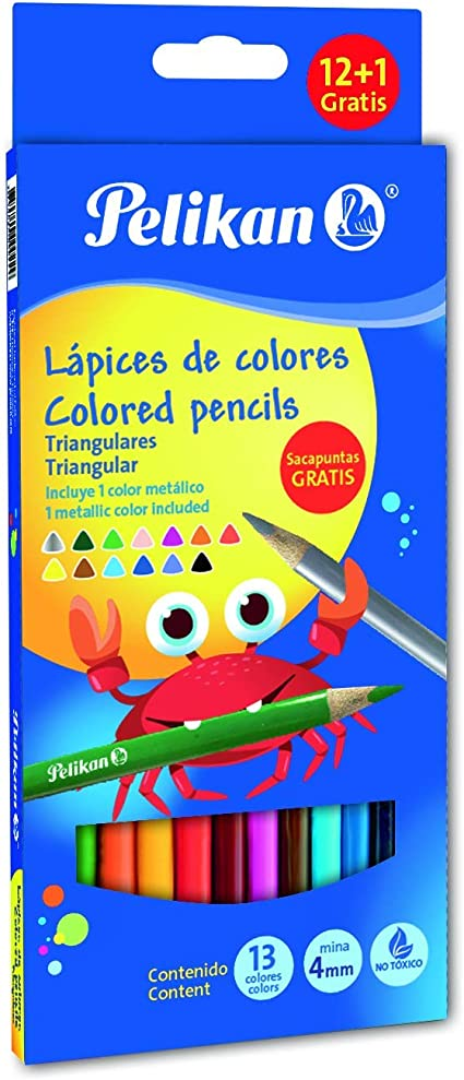 Pelikan 30330303TR - Estuche cartón, 12 lápices triangulares, 17.5 cm, multicolor: Amazon.es: Oficina y papelería