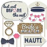 Nautical Bachelorette - Bachelorette Party Photo Booth Props Kit - 20 Count