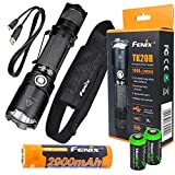 FENIX TK20R USB Rechargeable 1000 Lumen Cree LED tactical Flashlight with, 2900mAh rechargeable battery, USB charging cable and 2 X EdisonBright lithium CR123A back-up batteries bundle