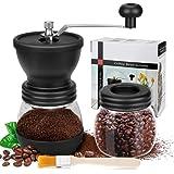 Manuell kaffekvarn, premium justerbar grovhet keramisk burr, med extra förvaringsburk och en rengöringsborste, bärbar…