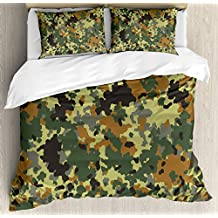 Camo Duvet Cover Set by Ambesonne, Classical Germany Camouflage Pattern Forest Jungle Military Colors, 3 Piece Bedding Set with Pillow Shams, King Size, Dark Green Light Green Brown