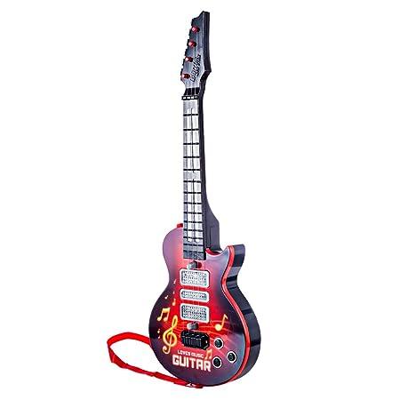 PHYNEDI Juguete de Guitarra Eléctrica para Niños 4 Cuerdas Instrumento Música Juguete Educativo con Sonidos y Luces, 53cm ,roja: Amazon.es: Juguetes y ...