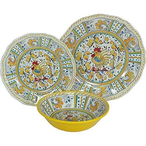 (8 X Le Cadeaux Yellow Rooster - 3 Piece Place Setting, 24 Piece Set)