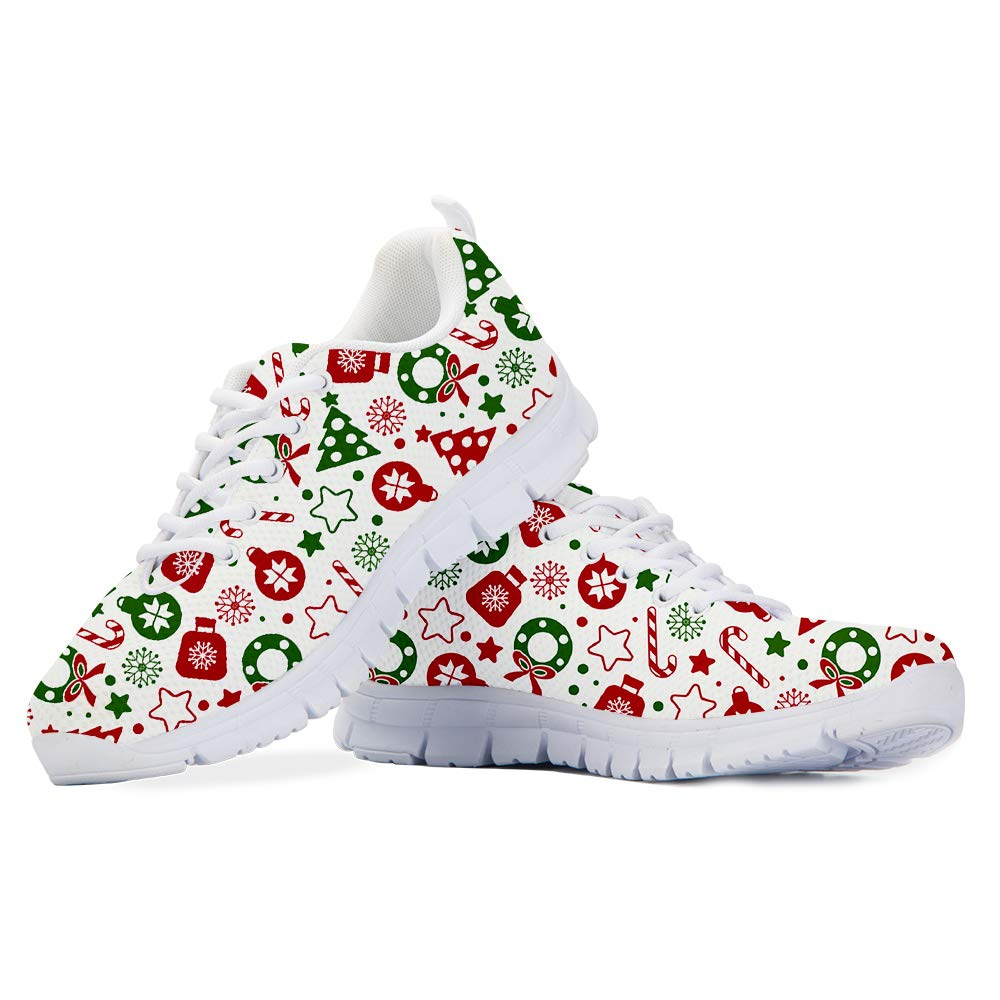 f16ae10260b0a Amazon.com: Hand Painted Print Canvas Shoe Christmas Candy Cane ...