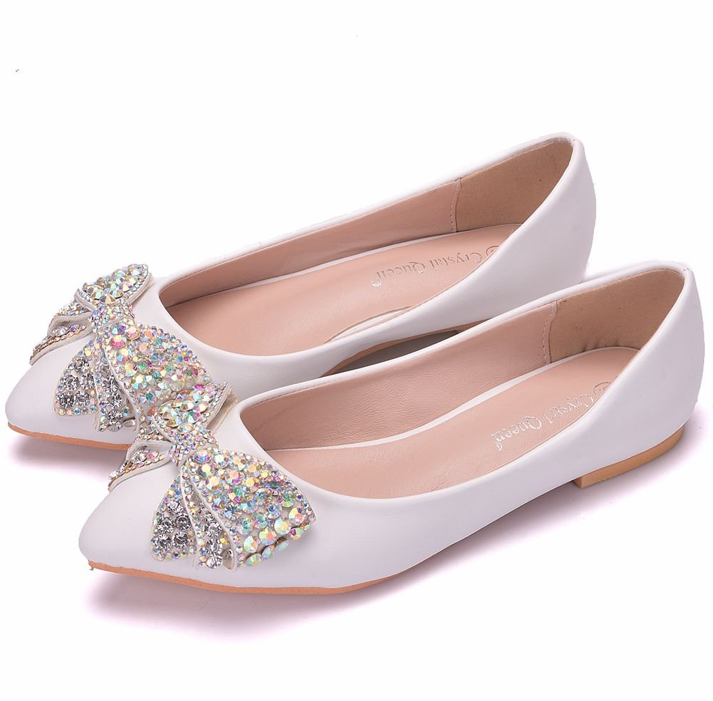 Sogala White Wedding Shoes Bridal Shoes for Weddings Romantic Crystal Bowknot Casual Women Flat Shoes