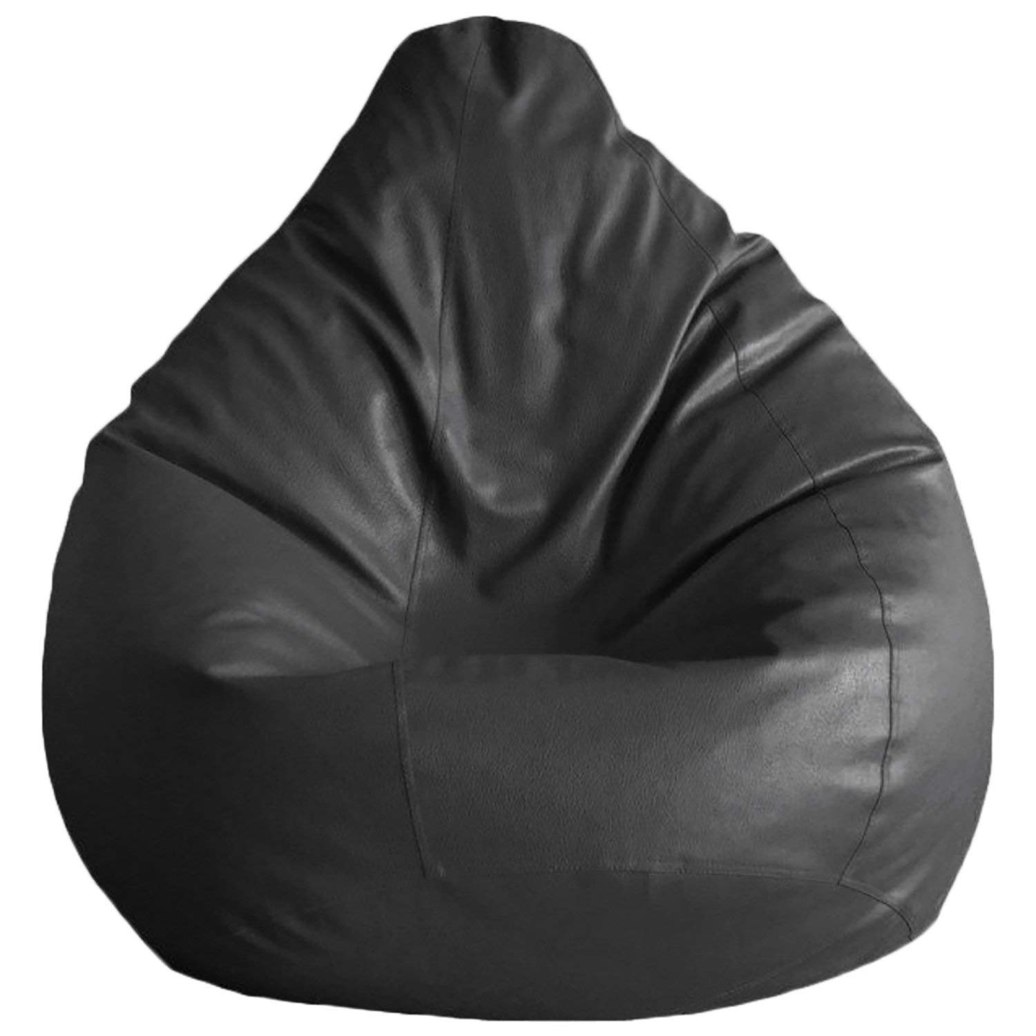 Ink Craft Classic Solid Bean Bag Chair for Bedroom , Living Room Lounger - Black XL - Without Beans