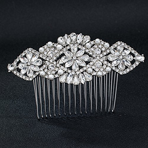 SEPBRDIALS Rhinestone Crystal Wedding Bridals Hair Comb Pins Pieces Accessories Jewelry FA5091 (Silver) by SEPBRIDALS