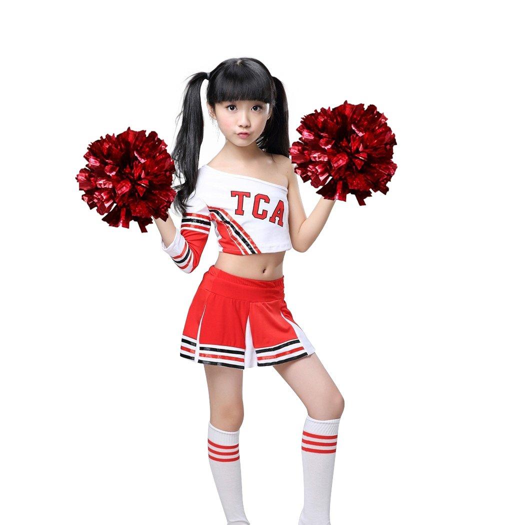 Dreamowl Mädchen Red Cheerleader Kostüm Kinder Cheerleader Uniform mit Socken Poms .Ltd