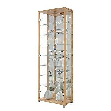 Double Door Glass Display Cabinet, Mirror Back, 4 Shelves + Light (Beech)
