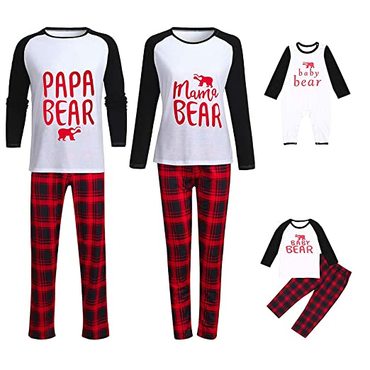 d6f32a628f Image Unavailable. Image not available for. Color  Matching Family Pajamas  Plaid Colorblock Blouse Pants Sleepwear Christmas Set