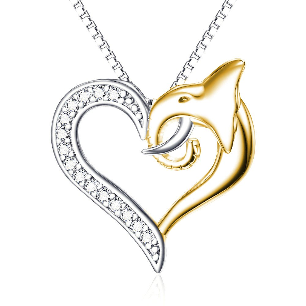 Silverraj Heart Pendant Collection 14K Rose Gold Plated Simulated Excellent Cut White CZ Diamond Classic Double Heart Pendant With 18 Chain