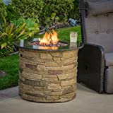 Great Deal Furniture Rogers Outdoor Round 40,000 BTU Liquid Propane (Gas) Fire Table Pit with Lava Rocks