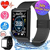 Smart Watch for Men Women Waterproof Sport Fitness Tracker Prime Deal Summer Outdoor Gifts with Heart Rate Blood Pressure Sleep Monitor Wearable Wristband Watch Activity Tracker Compatible iOS Android