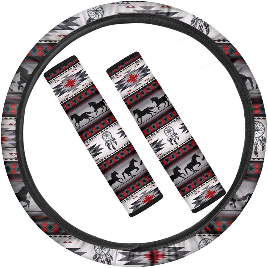 Steering Wheel Cover for Women INSTANTARTS 3 Piece Universal Size Auto Accessories Set,Colorful Tie Dye Printed 2 Piece Seat Belt Pads