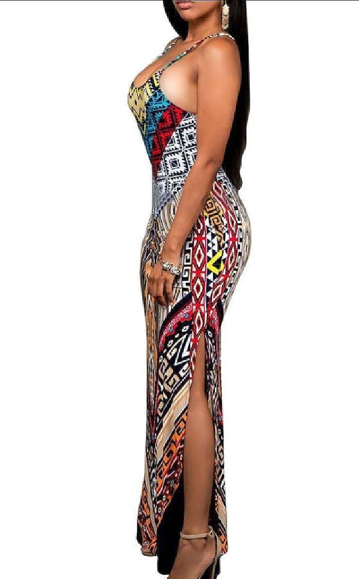 Gocgt Womens Backless Bodycon Spaghetti Strap Floral Print Maxi Dress