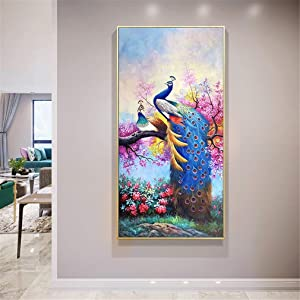 RAILONCH Large Peacock 5D Diamond Painting Kits DIY Full Drill Arts Craft for Home Wall Decor (40X80cm)