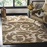 (US) Safavieh SG167A-4 New York Shag Collection Abstract Area Rug, 4' x 6' , Beige/SG167A-4