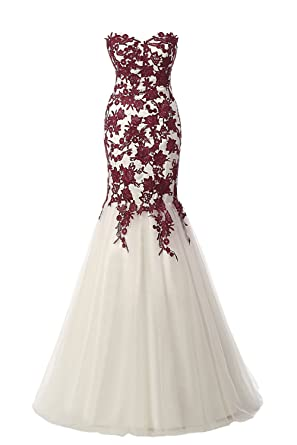 Sunvary Designer Evening Prom Dresses Mermaid Strapless Applique Tulle Gown- US Size 2- Burgundy