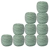 Set of 10 Pcs White with Metallic Green Cotton Crochet Thread Cross Stitch For Knitting Handicrafter Balls Tatting Doilies Skeins Lacey Craft Yarn