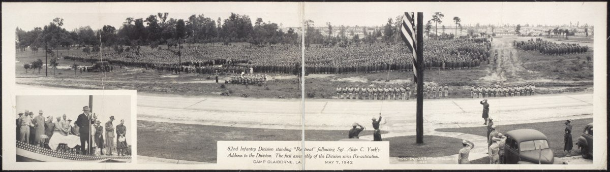 1942 82nd Infantry Division standing ''Retreat'' following Sgt. Alvin C. Yorks add