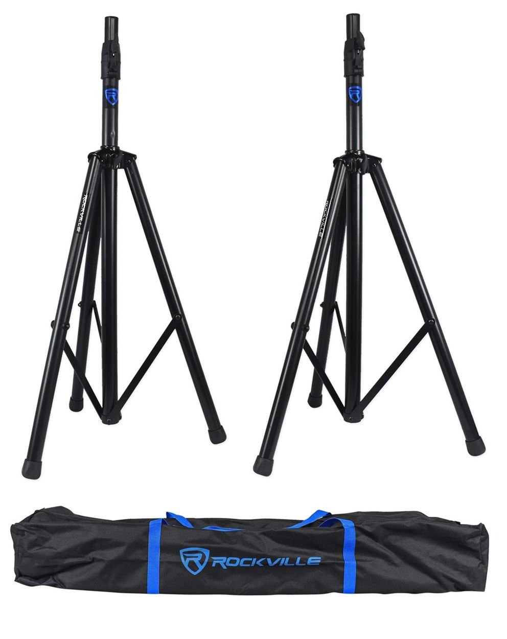Rockville RVSS3 Pair Tripod DJ PA Speaker Stands Push Button Air Lowering System by Rockville