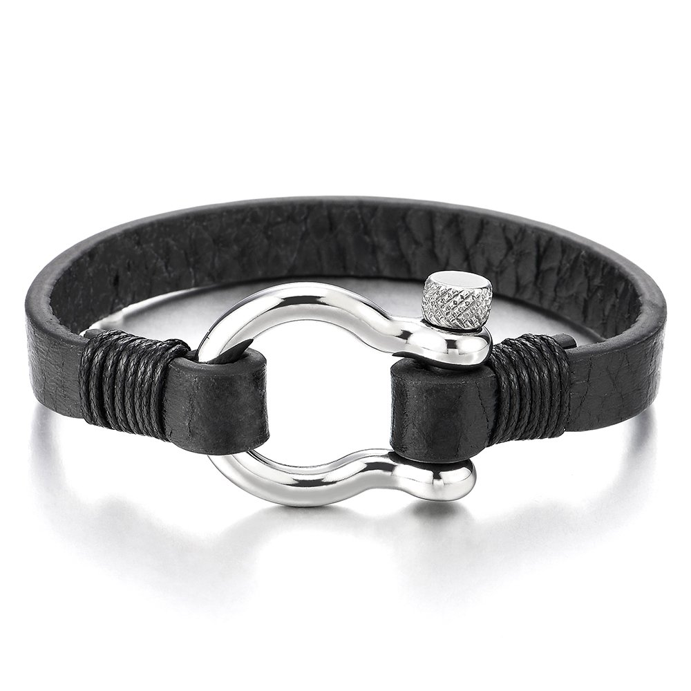 Mens Womens Steel Screw Anchor Shackles Wrap Bracelet with Black Leather, Nautical Sailor Wristband