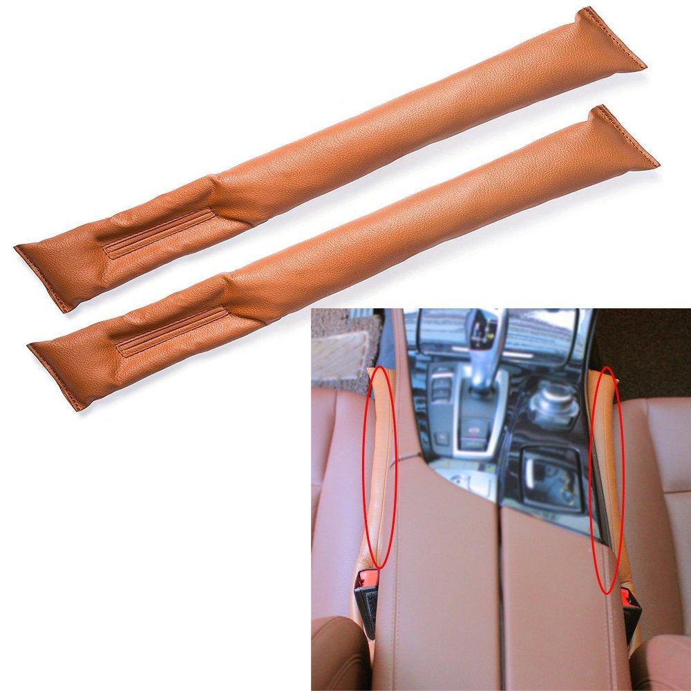 2 Stück Auto Seat Gap Filler, Universal Auto Seat Gap Filler Pad Soft Padding Spacer PU Leder (braun) Langdy