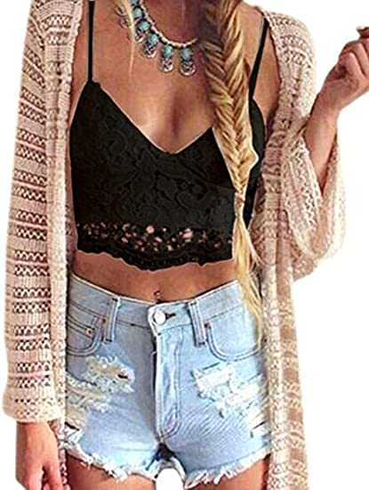 6bea06812b Sibylla Women s Summer Lace Casual Crop Tops Sleeveless Sexy Vest Tank Top  (Small