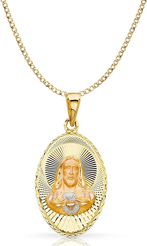 14K Tri Color Gold Religious Jesus Stamp Charm Pendant For Necklace or Chain