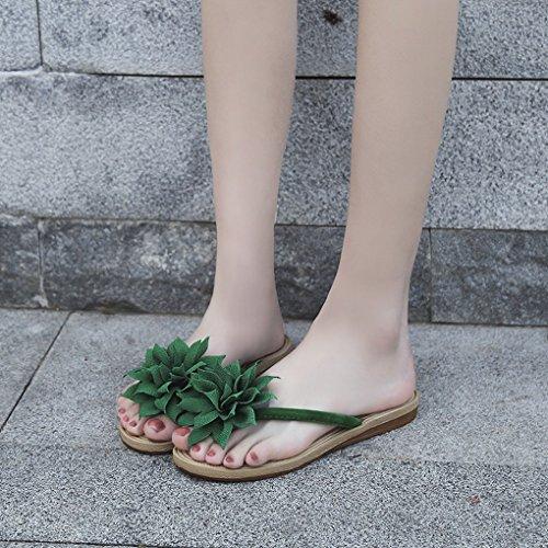 ACMEDE Boho Heel Flower Anti Flip Big Style Flops Flat Slip Shoes Thongs Green Women rI6qPr