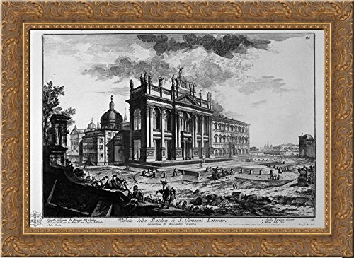 Cell on the inside of the Basilica of St. Paul Outside the Walls 24x20 Gold Ornate Wood Framed Canvas Art by Piranesi, Giovanni Battista
