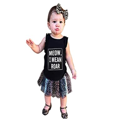5f6f65d252a IGEMY Toddler Baby Sleeveless Leopard Top T-Shirt+Skirt Tracksuit Outfits  Set Clothes (