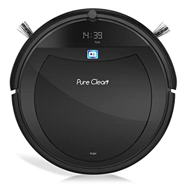 Pure Clean Automatic Programmable Vacuum Cleaner-Scheduled Activation Auto Charge Dock-Robotic Home Clean Carpet Hardwood Floor, AIR Pet Hair and Allergies Friendly-PureClean
