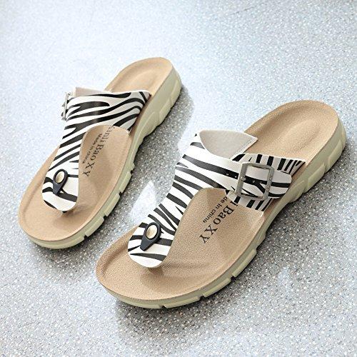 Unisex Adults' Thong Sandals - Women's Flip Flops Men's Open Toe Sandals Zebra sh6R7