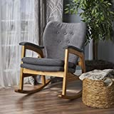 Christopher Knight Home 301988 Bethany Mid Century Fabric Rocking Chair (Grey), Light Walnut