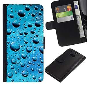 All Phone Most Case / Oferta Especial Cáscara Funda de cuero Monedero Cubierta de proteccion Caso / Wallet Case for HTC One M8 // Blue Water Drops