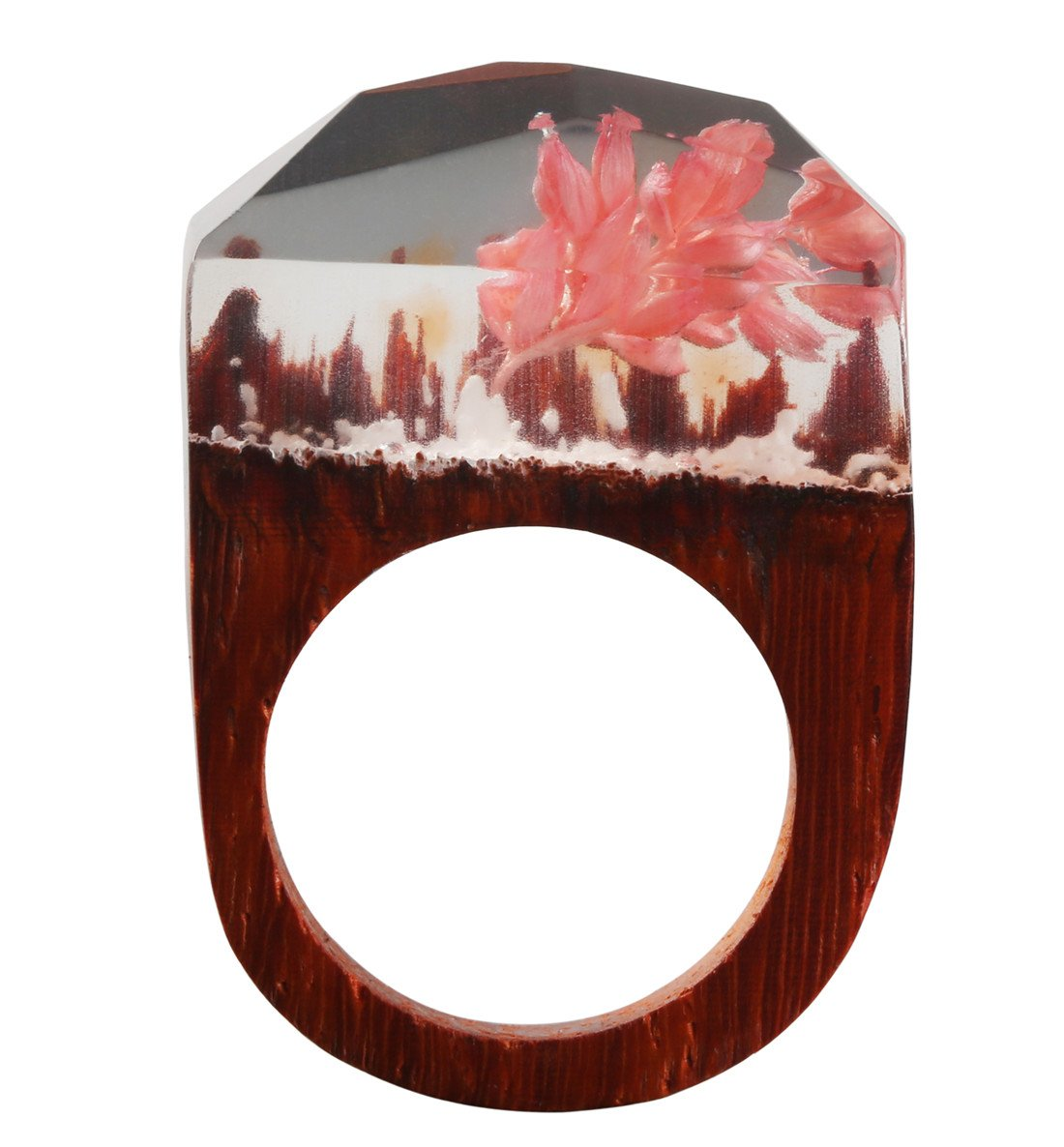 Heyou Love Handmade Wood Resin Rings Secret Pink Rose Flowers Inside Worlds Ring Jewelry for Women (Pink lavender, 9)