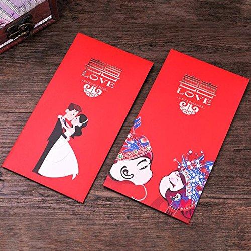 Red Envelopes for Wedding blessing, Pack of 6 Envelopes in 3 Designs (Wedding Envelopes Chinese)